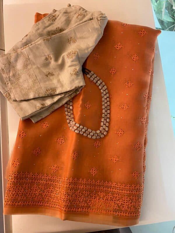 Orange organza kutch work saree