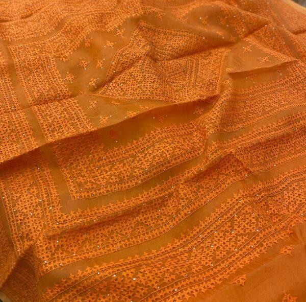Orange organza kutch work saree2