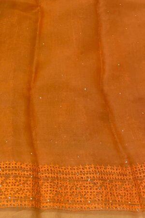 Orange organza kutch work saree3