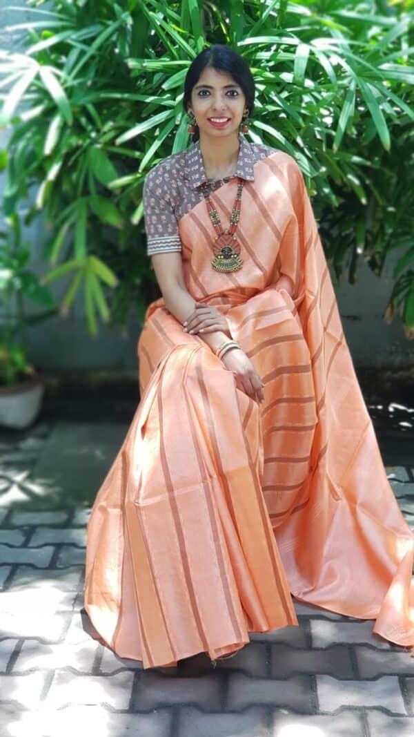 Orange tussar saree