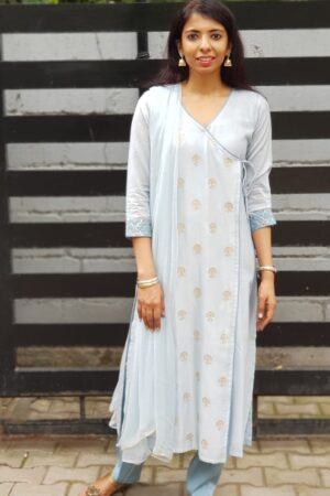 Pale blue chanderi set