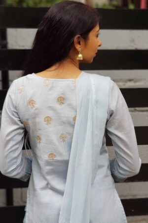 Pale blue chanderi set1