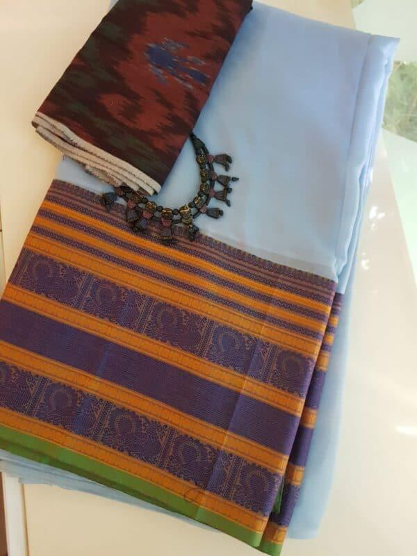 Pale blue chiffon saree with kanchi cotton border1