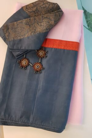 Pale pink chiffon saree with kanchi silk border