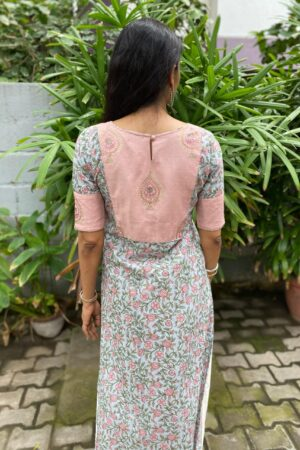 Peach and grey cotton kurta1