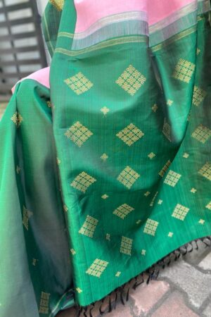Pink and green half and half kanchipuram silk saree1