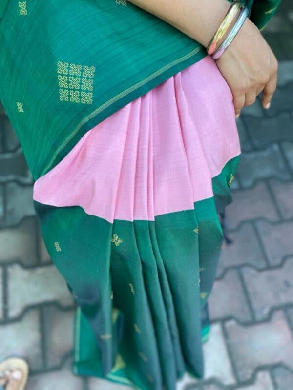 Pink and green half and half kanchipuram silk saree2