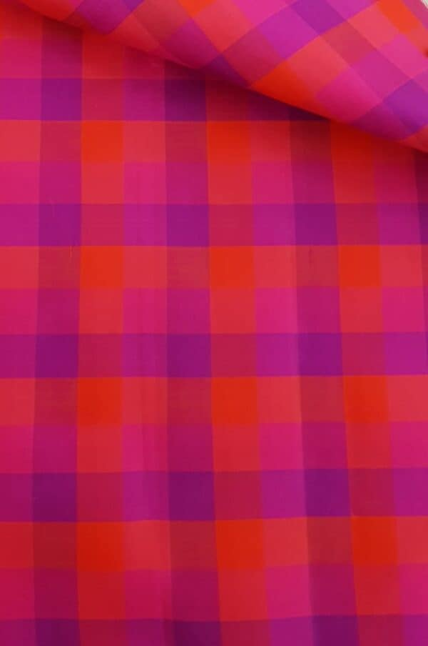 Pink and red checked fabric