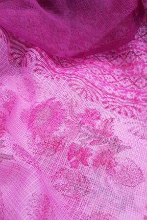 Pink block printed kota dupatta