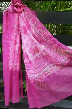 Pink block printed kota dupatta1