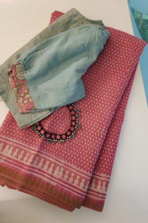 Pink block printed maheshwari saree