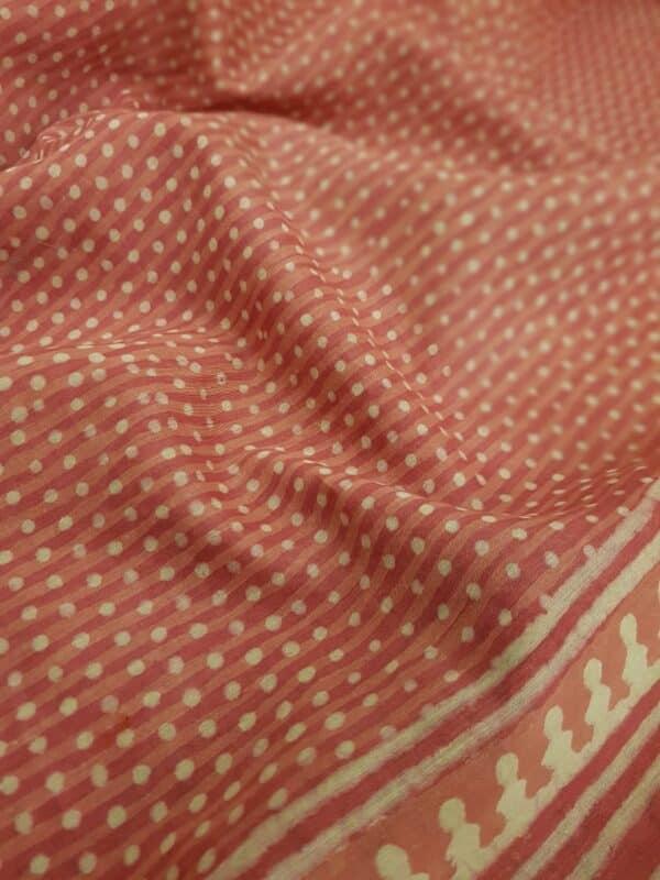 Pink block printed maheshwari saree2