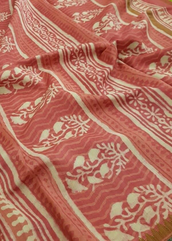 Pink block printed maheshwari saree3