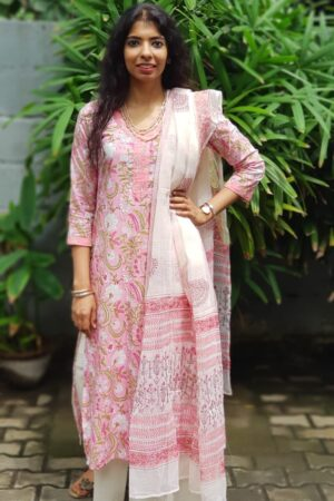 Pink cotton with kota dupatta