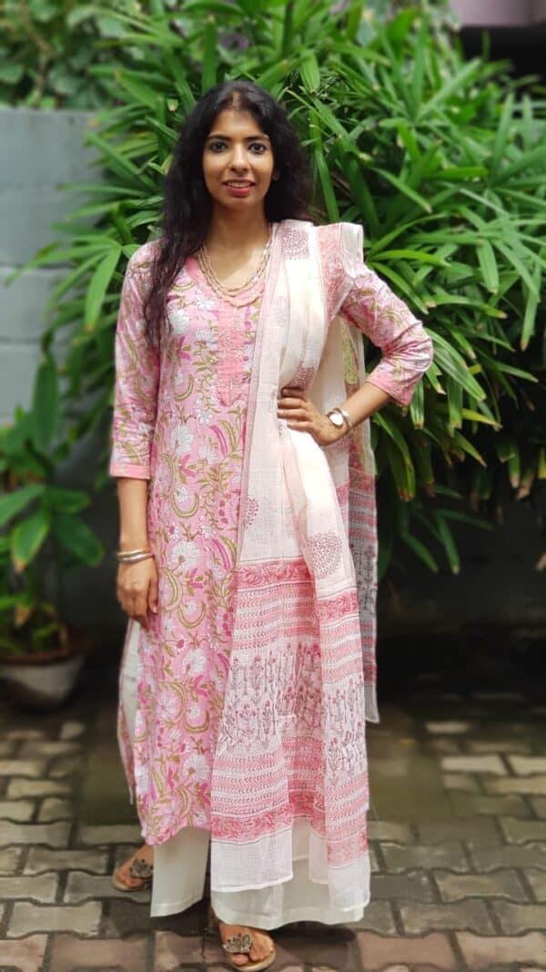 Pink cotton with kota dupatta
