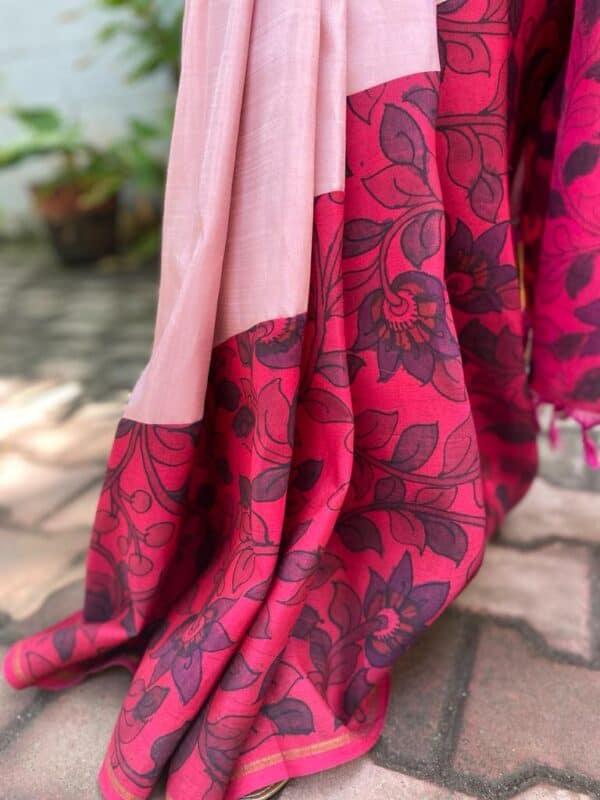 Pink cross to cross kalamkari kanchipuram saree