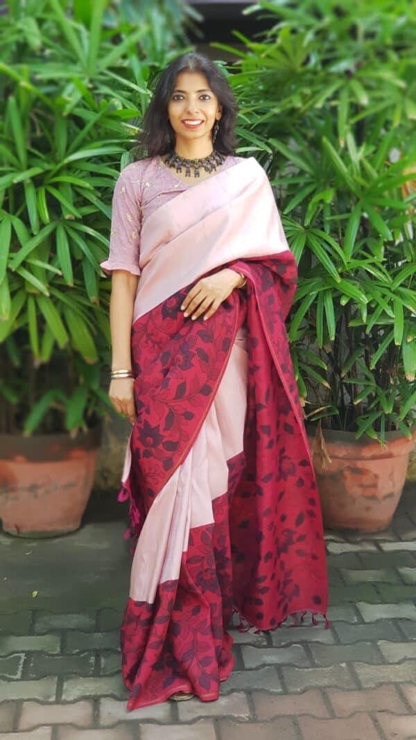 Pink cross to cross kalamkari kanchipuram saree2