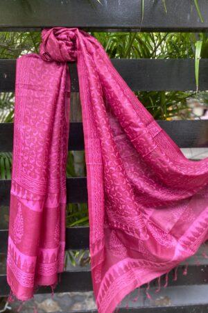 Pink dhabu tussar dupatta