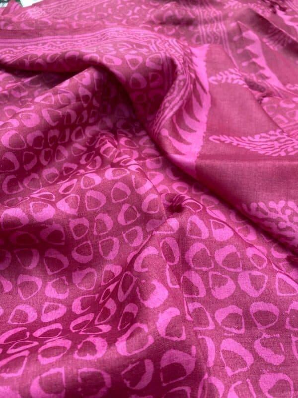Pink dhabu tussar dupatta1
