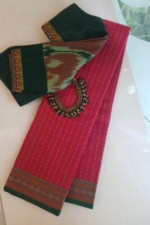 Pink kanchi cotton saree with rudraksham border