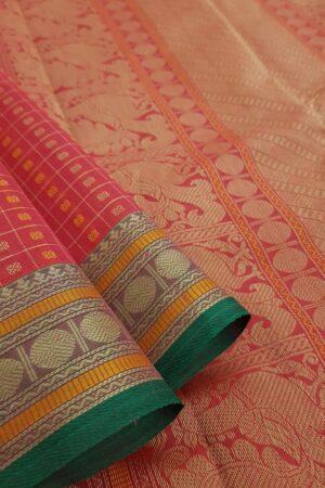 Pink kanchi cotton saree with rudraksham border1