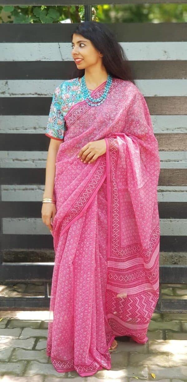 Pink kota saree