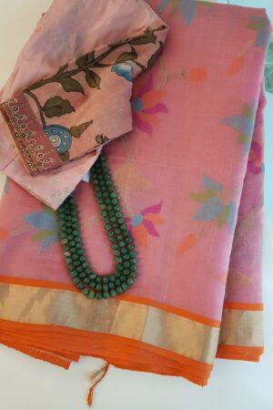 Pink organza saree with jamdhani design and tissue border