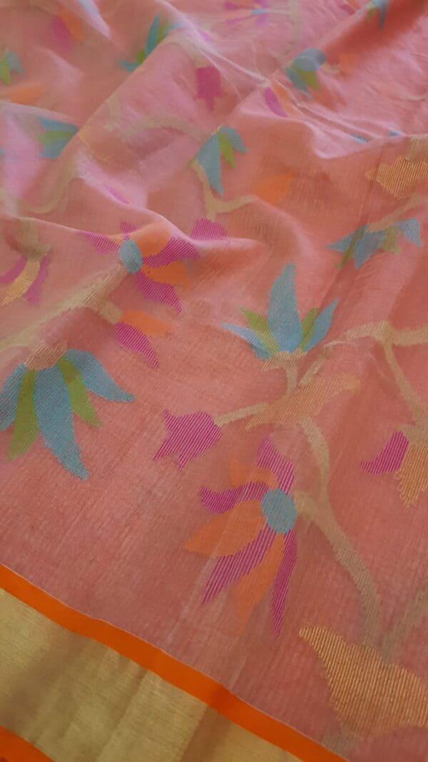 Pink organza saree with jamdhani design and tissue border2