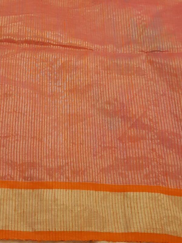 Pink organza saree with jamdhani design and tissue border3