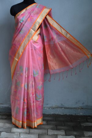 Pink organza saree with jamdhani design and tissue border4Pink organza saree with jamdhani design and tissue border4