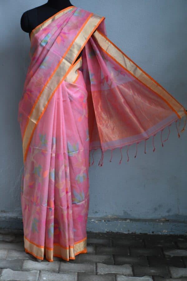 Pink organza saree with jamdhani design and tissue border4Pink organza saree with jamdhani design and tissue border4