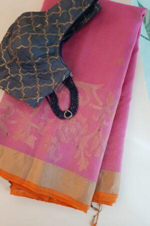 Pink organza saree with tissue border