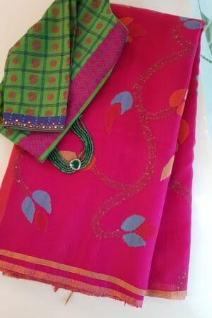 Pink organza with jamdhani design
