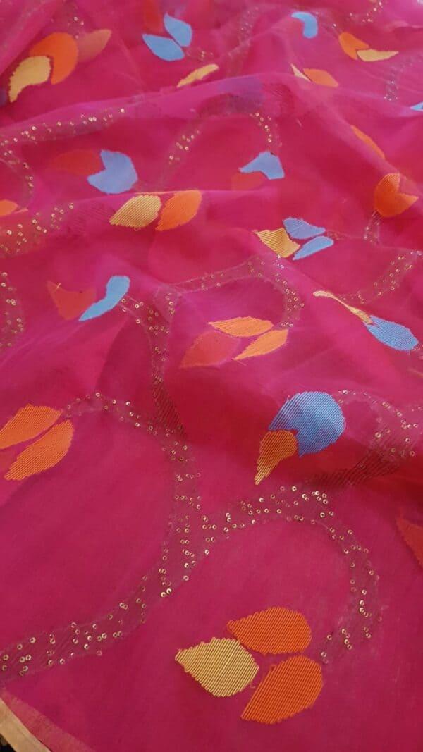 Pink organza with jamdhani design1
