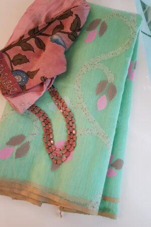 Pista green jamdani organza saree