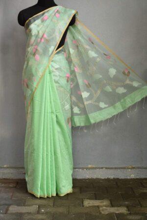 Pista green jamdani organza saree4