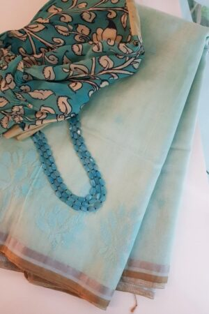 Powder blue Organza saree