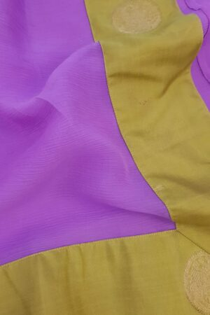 Purple chiffon saree with green silk border1