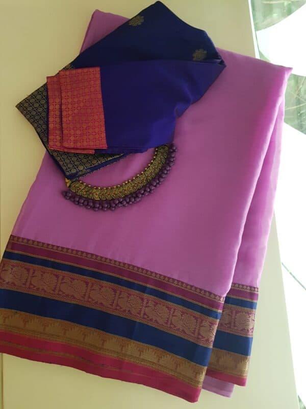 Purple kanchi cotton saree with kanchi cotton border