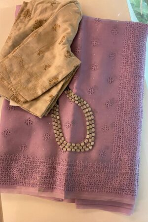 Purple organza kutch work saree