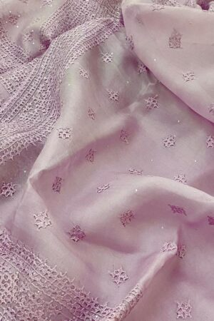 Purple organza kutch work saree2