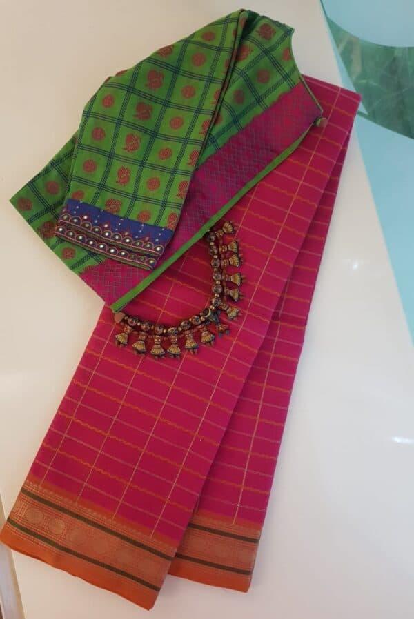 Rani pink kanchi cotton saree