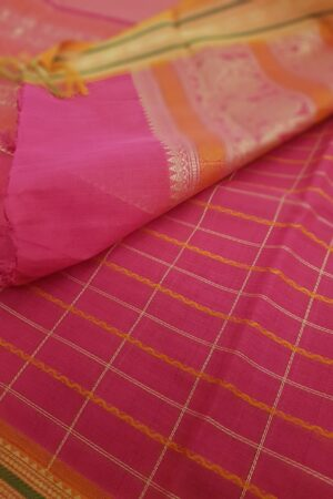 Rani pink kanchi cotton saree2