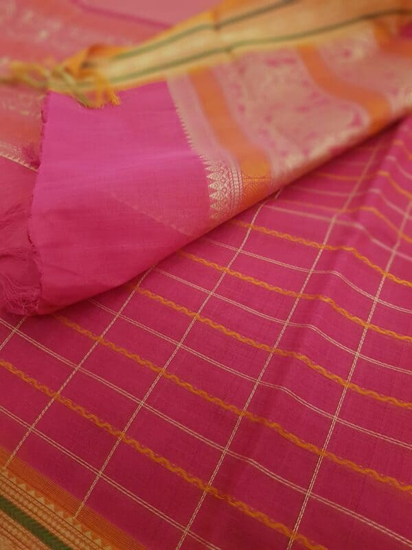 Rani pink kanchi cotton saree2