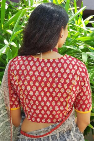 Red and beige with mustard piping cotton blouse