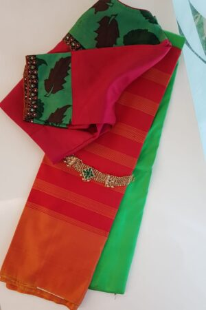 Red and green half and half soft silk saree