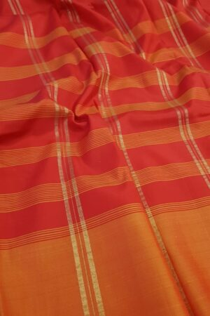 Red and green half and half soft silk saree1