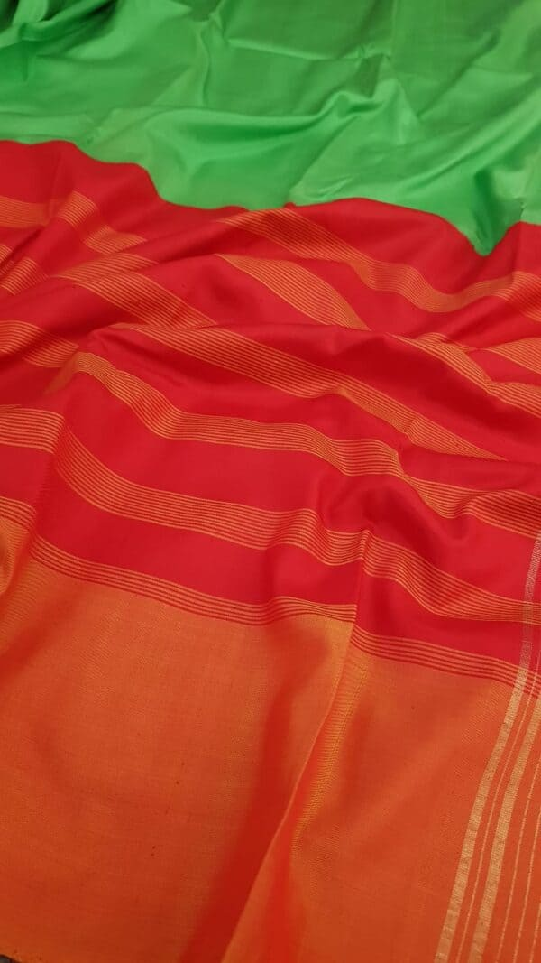 Red and green half and half soft silk saree2