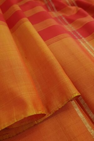 Red and green half and half soft silk saree3