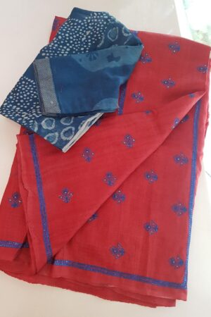 Red hand embroidered tussar saree